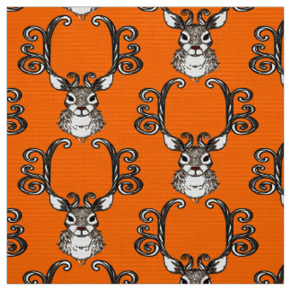 Cute Reindeer brown deer cottage  fabric orange