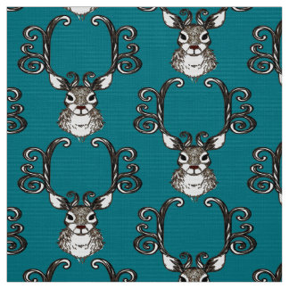 Cute Reindeer brown deer cottage  fabric teal