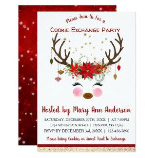 Cute Reindeer Christmas Cookie Exchange Party Card