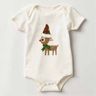 Cute  Reindeer Christmas Holiday Baby Bodysuit