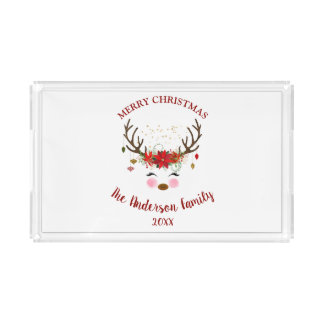 Cute Reindeer Christmas Holiday Party Acrylic Tray