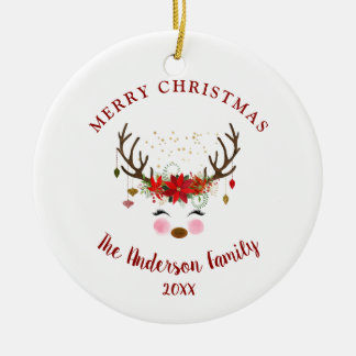 Cute Reindeer Christmas Holiday Party Ornament