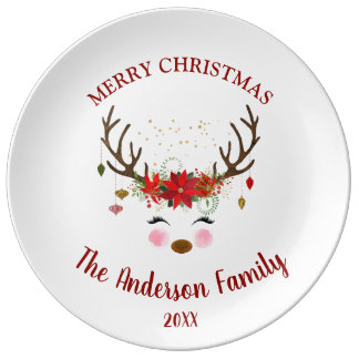 Cute Reindeer Christmas Holiday Party Plates