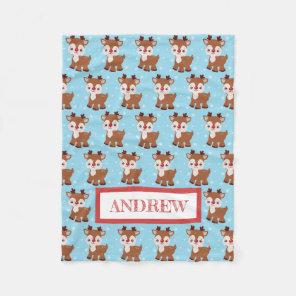 Cute Reindeer Christmas Name Blanket