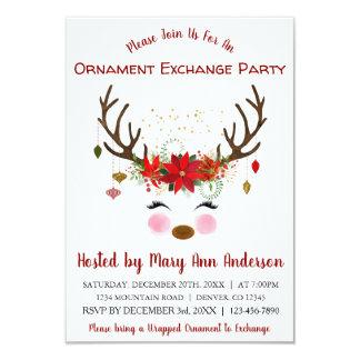 Cute Reindeer Christmas Ornament Exchange Party Card