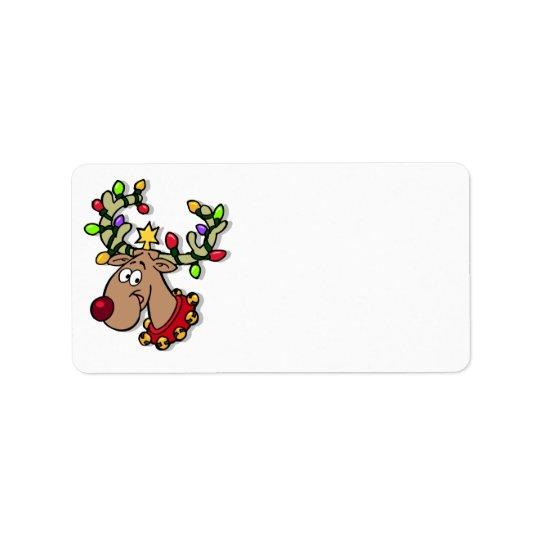 Cute Reindeer Customised Christmas Cards Label