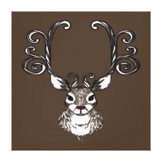 Cute Reindeer deer brown print art