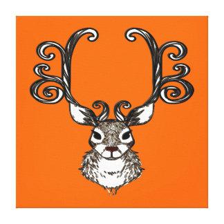 Cute Reindeer deer brown print art orange