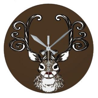 Cute Reindeer deer cottage wall clock brown