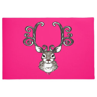 Cute Reindeer deer cottage welcome mat pink