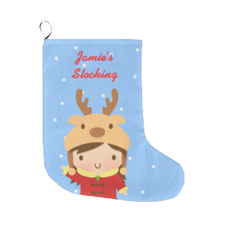 Cute Reindeer Girl Christmas For Kids Large Christmas Stocking