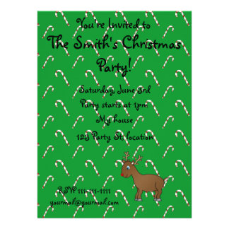 Cute reindeer green candy canes invitation