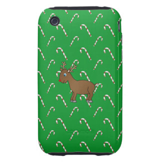Cute reindeer green candy canes iPhone 3 tough cover