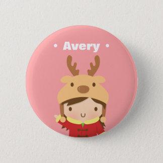 Cute Reindeer Hat Girl Kids Christmas Fillers 6 Cm Round Badge