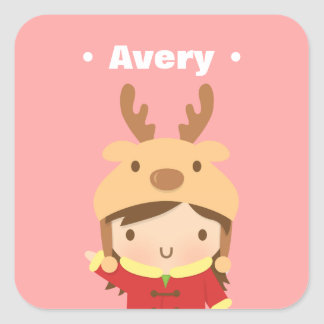 Cute Reindeer Hat Girl Kids Christmas Fillers Square Sticker