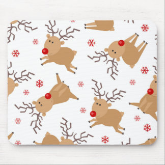 Cute Reindeer Holiday Pattern White Red Snowflake Mouse Mat