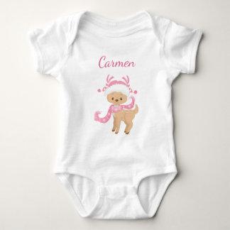 Cute Reindeer in pink Baby Bodysuit