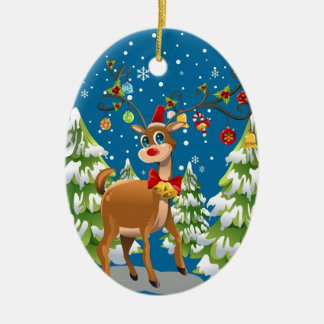 Cute Reindeer in the Snow Christmas Ornament