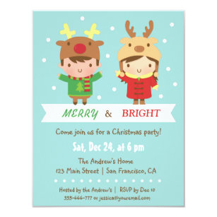 Kids Christmas Party Invitations Zazzle Uk