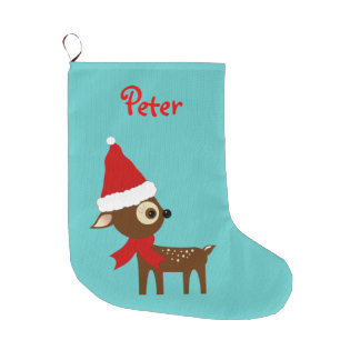 Cute Reindeer Name Personalized Christmas Stocking Large Christmas Stocking