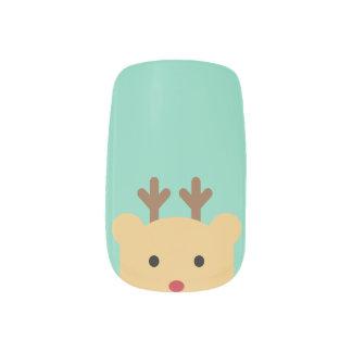 Cute Reindeer Peekaboo Nail Art