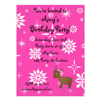 Cute reindeer pink and white snowflakes custom invites