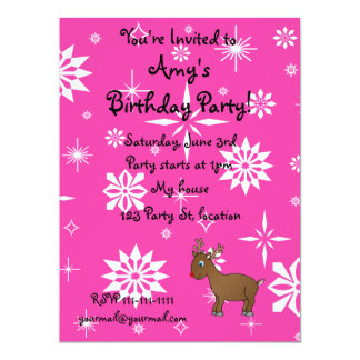 """Cute reindeer pink and white snowflakes 6.5"""" x 8.75"""" invitation card"""