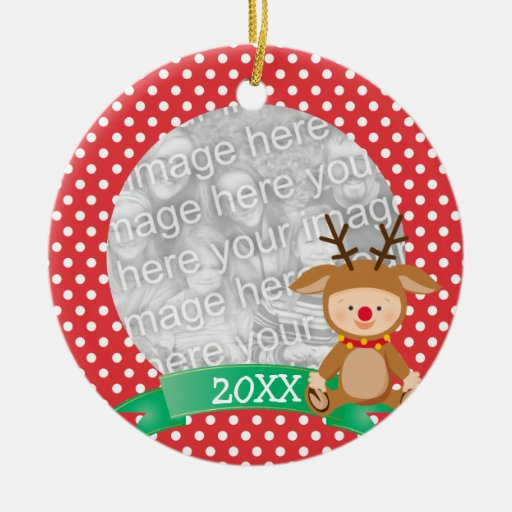Cute Reindeer Red Babys First Christmas Christmas Ornament