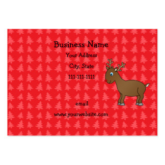 Cute reindeer red christmas trees business card template