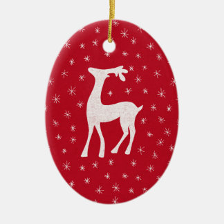 Cute reindeer with sparkling stars on red christmas ornament