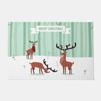 Cute Reindeers Christmas door mats