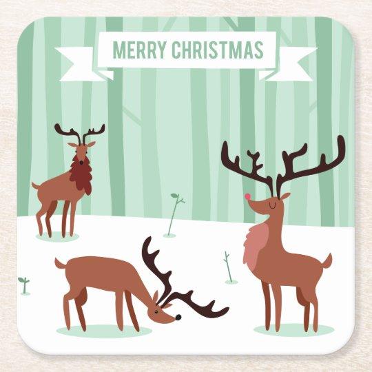 Cute Reindeers Christmas paper coasters