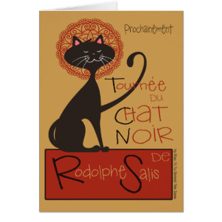Cute Remake of Le Chat Noir Black Cat Greeting Card