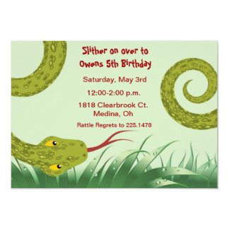 """cute reptile birthday party invitation 5"""" x 7"""" invitation card"""
