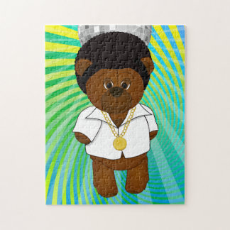 Cute Retro 1970s Disco Dancing Teddy Bear Cartoon Jigsaw Puzzle