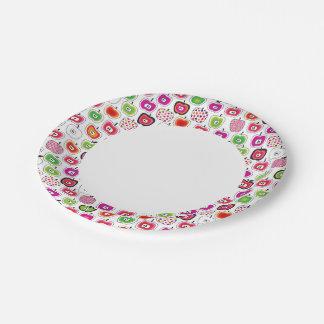 Cute retro apple pattern 7 inch paper plate