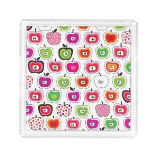 Cute retro apple pattern acrylic tray