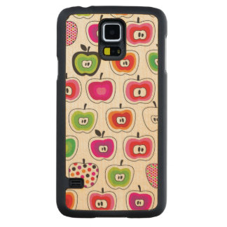 Cute retro apple pattern carved maple galaxy s5 case