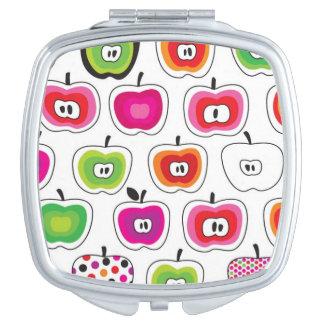 Cute retro apple pattern compact mirror