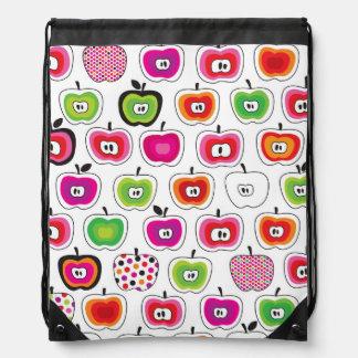 Cute retro apple pattern drawstring bag