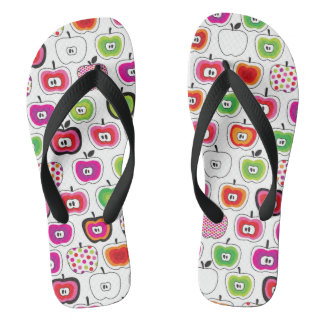 Cute retro apple pattern flip flops