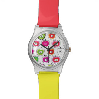 Cute retro apple pattern watch