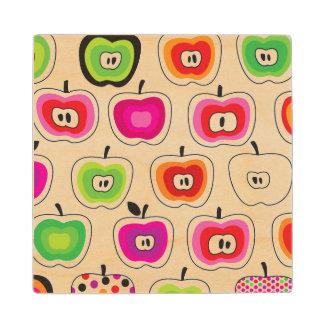 Cute retro apple pattern wood coaster
