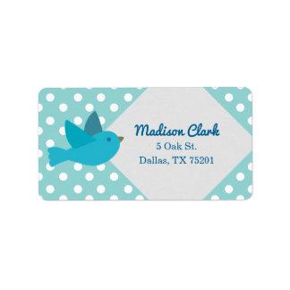 Cute Retro Blue Bird Customizable Address Labels