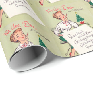 Cute retro boss Vintage party wrap Wrapping Paper