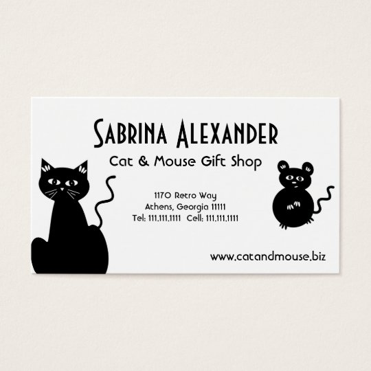 Cute Retro Cartoon Cat and Mouse Business Card