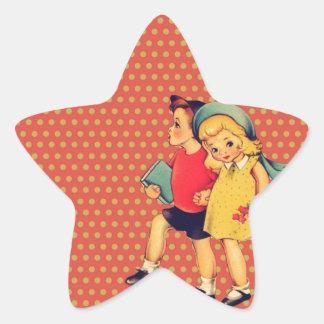 cute retro children vintage valentines day kiss star sticker