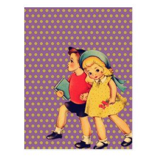 cute retro children vintage valentines day postcard