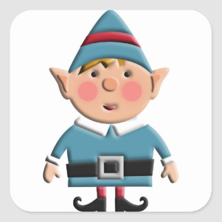 Cute Retro Christmas Elf Square Sticker