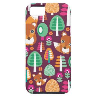 Cute retro colorful fox tree kids iphone 5 case